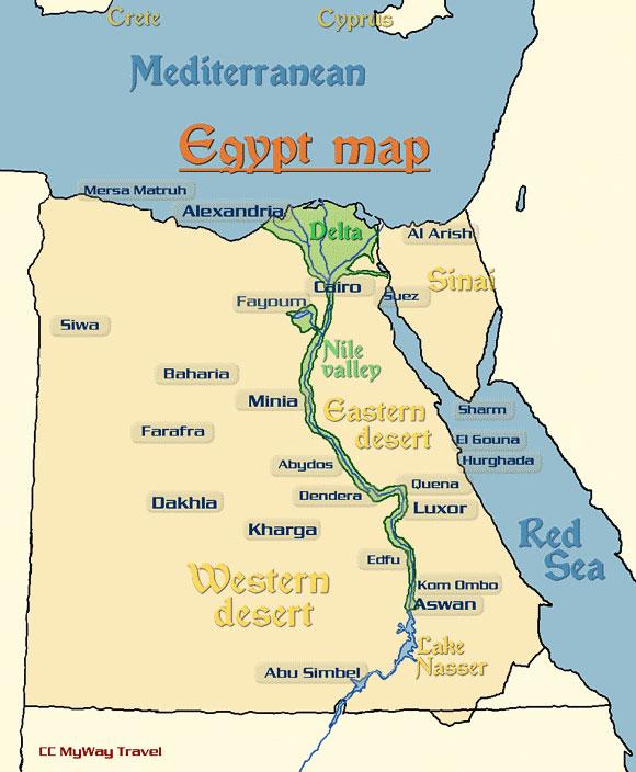 Egypt Map Cairo Alexandria Luxor Aswan Alexandria Sharm El-Sheikh ...