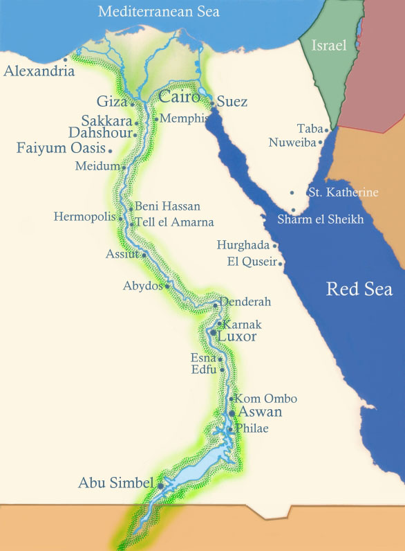 Egypt Map Cairo Alexandria Luxor Aswan Alexandria Sharm El Sheikh